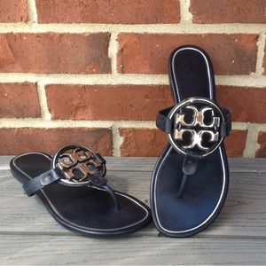 Tory Burch Navy Miller Leather Sandals
